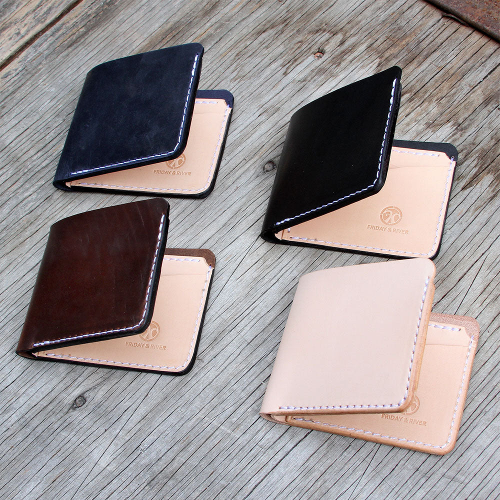 Classic leather wallet all colors black blue natural and brown