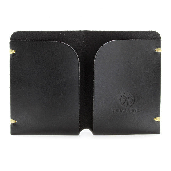 Minimal black English bridle leather card holder open