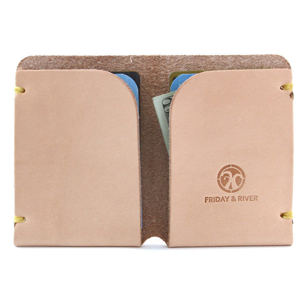 natural vegetable tanned leather card wallet open