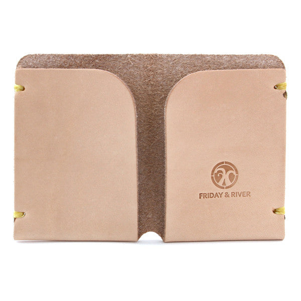 natural vegetable tanned leather origami card wallet open