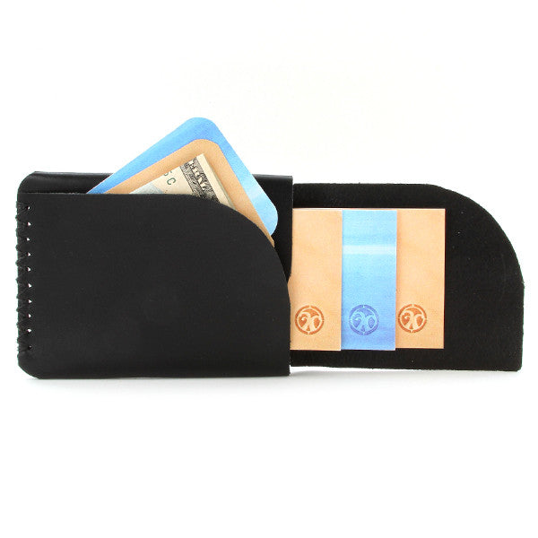 Minimal leather card Wallet, English Bridle Leather Open with cards