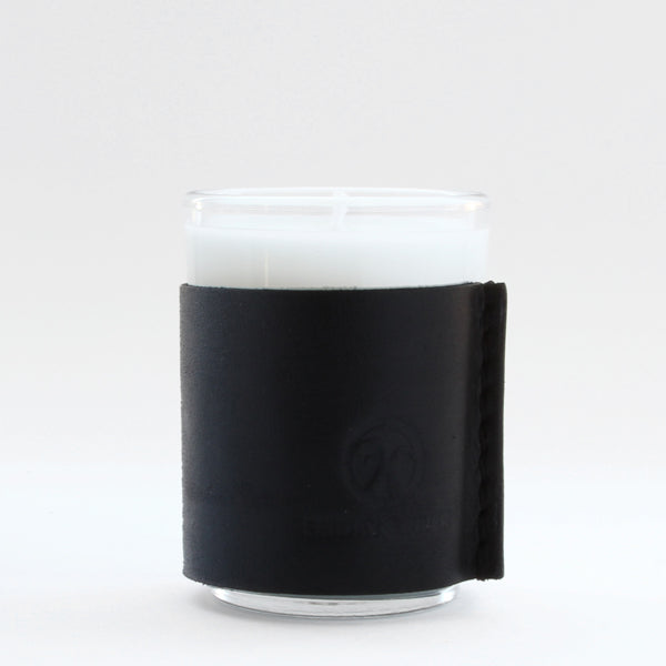 Small black leather wrapped soy votive candle