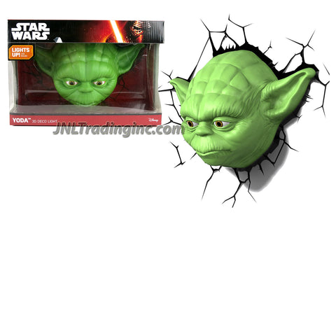 3DLightFX Star Wars Series Battery Operated 3D Deco Night Light : YODA Head with Light Up LED Bulbs