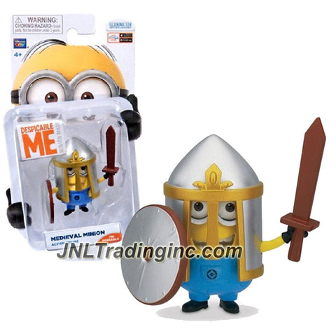 "Thinkway ""Despicable Me 2"" Movie Series 2-1/2 Inch Tall Poseable Action Figure - MEDIEVAL MINION with Helmet, Sword and Shield"