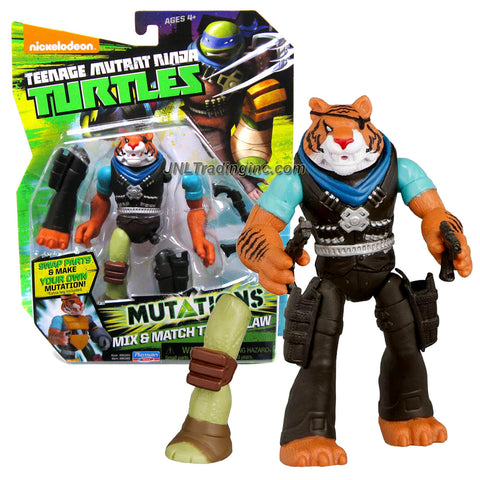 "Playmates Year 2014 Teenage Mutant Ninja Turtles TMNT ""Mutations Mix and Match"" Series 5 Inch Tall Action Figure - TIGER CLAW with 2 Guns and 1 Extra Turtle Right Leg"