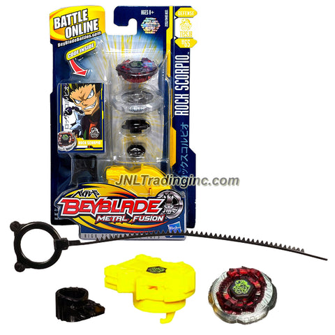 Hasbro Year 2010 Beyblade Metal Fusion High Performance Battle Tops - Defense T125JB BB65 ROCK SCORPIO with Face Bolt, Scorpio Energy Ring, Rock Fusion Wheel, Tornado T125 Spin Track, Jog Ball JB Performance Tip and Ripcord Launcher Plus Online Code
