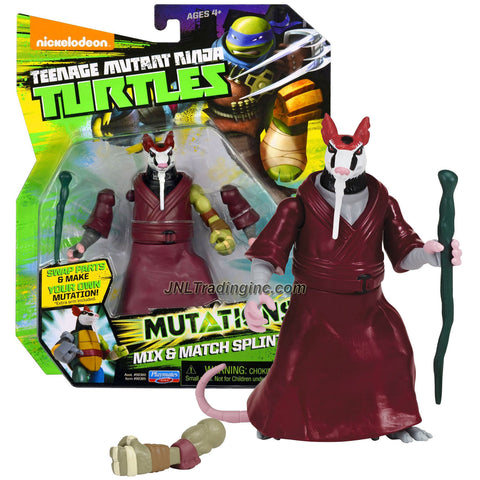 "Playmates Year 2014 Teenage Mutant Ninja Turtles TMNT ""Mutations Mix and Match"" Series 5 Inch Tall Action Figure - SPLINTER with Staff and 1 Extra Turtle Left Hand"