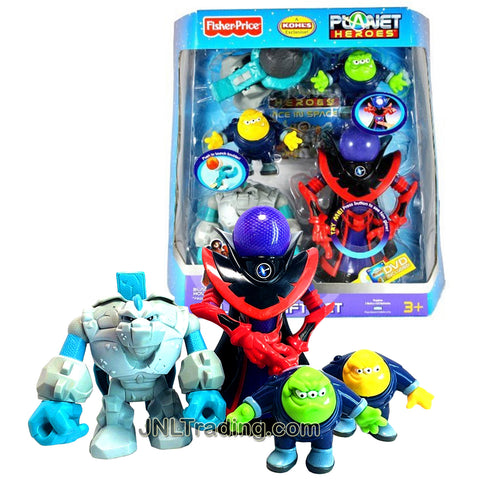 Year 2007 Planet Heroes Exclusive Series Figure Villains Gift Set with BLACK HOLE PROFESSOR DARKNESS, ASTEROID TINY, Comet Photon and Neutron, Catapult, Boulders, Trading Card and DVD