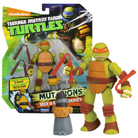 "Playmates Year 2014 Teenage Mutant Ninja Turtles TMNT ""Mutations Mix and Match"" Series 5 Inch Tall Action Figure - MIKEY with 2 Nunchakus and 1 Extra Metalhead Left Leg"