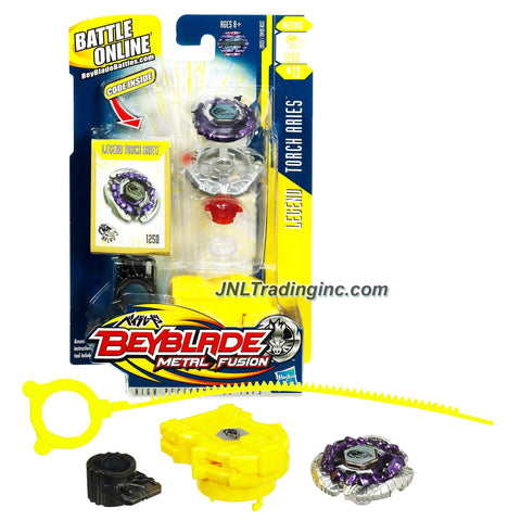 Hasbro Year 2010 Beyblade Metal Fusion High Performance Battle Tops - Defense 125D BB13 LEGEND TORCH ARIES with Face Bolt, Aries Energy Ring, Torch Fusion Wheel, Mid-Profile 125 Spin Track, Defense D Performance Tip and Ripcord Launcher Plus Online Code
