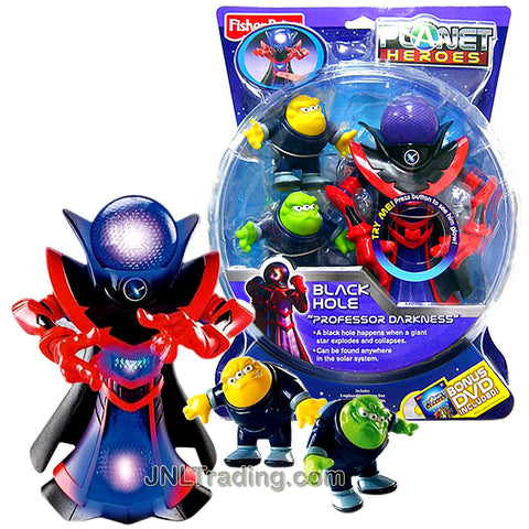 Year 2007 Planet Heroes Deluxe Series 7-1/2 Inch Tall Figure - BLACK HOLE PROFESSOR DARKNESS with Glowing Head, Comet Photon and Neutron Plus 2 Trading Card
