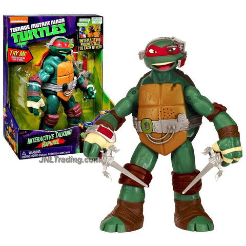 Playmates Year 2014 Nickelodeon Teenage Mutant Ninja Turtles 10 Inch Tall Electronic Action Figure - Interactive Talking RAPHAEL with a Pair of Sais