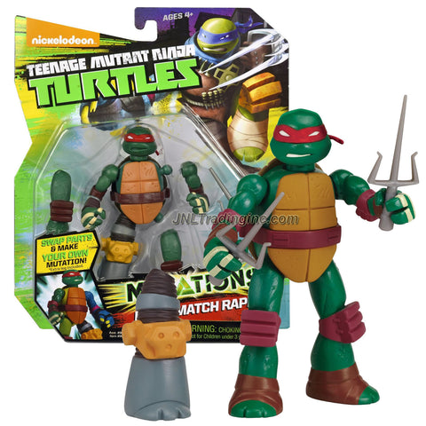 "Playmates Year 2014 Teenage Mutant Ninja Turtles TMNT ""Mutations Mix and Match"" Series 5 Inch Tall Action Figure - RAPH with 2 Sais and 1 Extra Metalhead Right Leg"