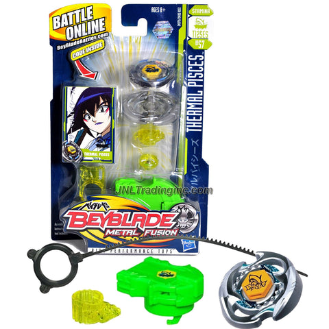 Hasbro Year 2010 Beyblade Metal Fusion High Performance Battle Tops - Stamina T125ES BB57 THERMAL PISCES with Face Bolt, Pisces Energy Ring, Thermal Fusion Wheel, T125 Spin Track, ES Performance Tip and Ripcord Launcher Plus Online Code