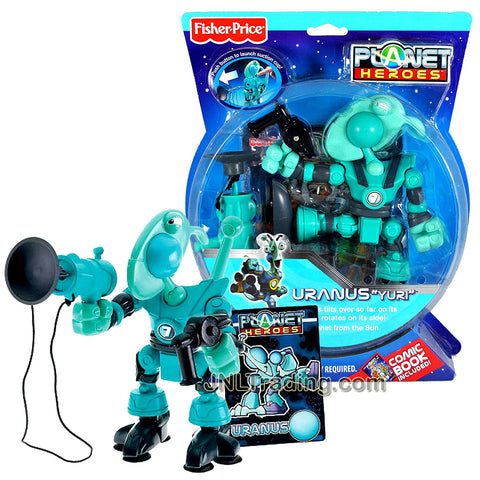 Year 2007 Planet Heroes Basic Series 6-1/2 Inch Tall  Figure - URANUS YURI with Magnetic Tail, Suction Cup Feet, Suction Cup Launcher, Trading Card and Comic Book