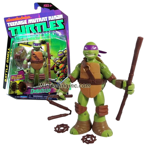 Playmates Year 2013 Nickelodeon Teenage Mutant Ninja Turtles Battle Shell Series 5 Inch Tall Action Figure - DONATELLO with Shell that Pops Open for Weapon Storage Plus Bo Staff, 2 Throwing Stars and Triple Sticks