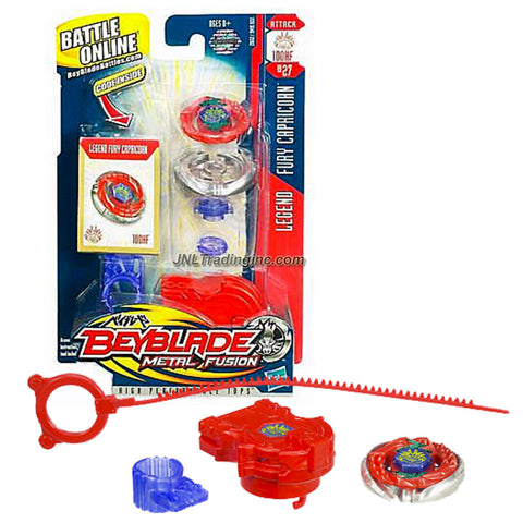 Hasbro Beyblade Metal Fusion High Performance Battle Tops - Attack 100HF BB27 LEGEND FURY CAPRICORN with Face Bolt, Capricorn Energy Ring, Fury Fusion Wheel, Low Profile 100 Spin Track, Hole Flat HF Performance Tip and Ripcord Launcher Plus Online Code