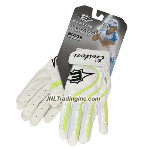 Easton Synergy Fastpitch Series Adult Female Softball Batting Glove - Color: White with Green Accent, Size: Small