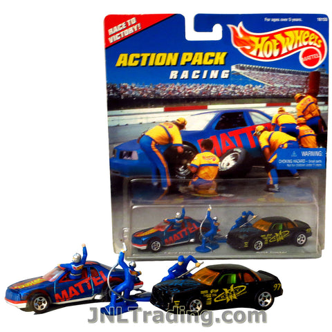 Hot Wheels Year 1996 Action Pack Series 1:64 Scale Die Cast Car Set - RACING with T-BIRD and BUICK STOCKER Plus 1 Driver and 2 Pit Crews 16155