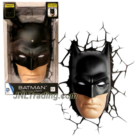 3DLightFX DC Comics Series Battery Operated 10 Inch Tall 3D Deco Night Light - BATMAN with Light Up LED Bulbs and Crack Sticker