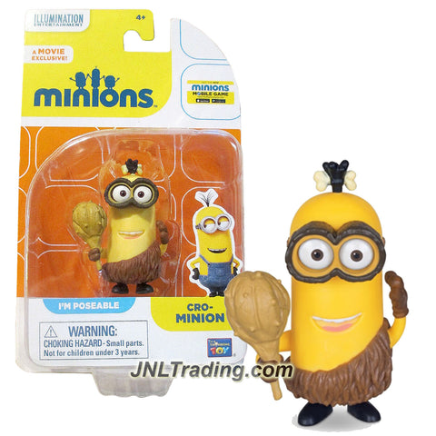 Thinkway Toys Illumination Entertainment Movie Minions 2-1/2 Inch Tall Figure - Prehistoric CRO-MINION with Spike Club