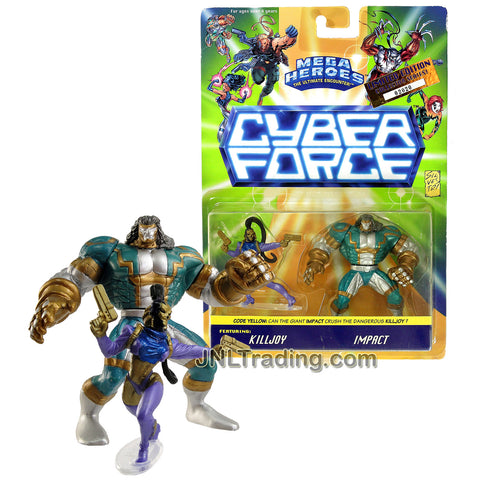 Year 1995 Mega Heroes The Ultimate Encounter Cyber Force Limited Edition Collector Series 2 Pack 2-1/2 Inch Tall Mini Figures - KILLJOY and IMPACT
