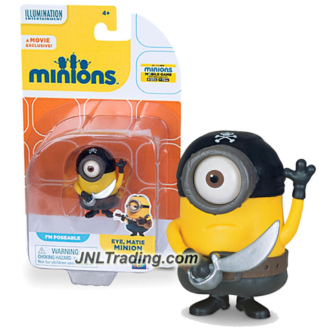 Thinkway Toys Illumination Entertainment Movie Minions 2 Inch Tall Figure - Pirate EYE, MATIE MINION with Sword