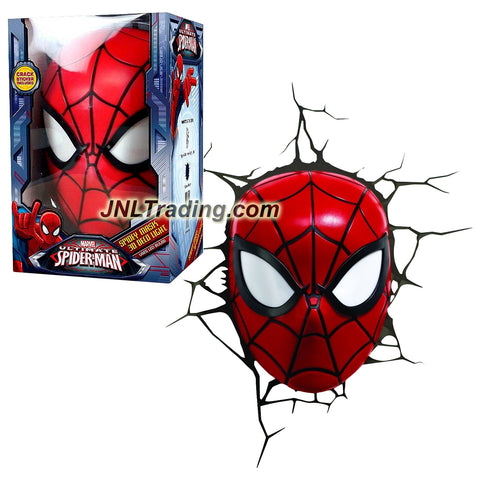 3DLightFX Marvel Ultimate Spider-Man Series Battery Operated 8 Inch Tall 3D Deco Night Light - SPIDEY MASK with Light Up LED Bulbs and Crack Sticker