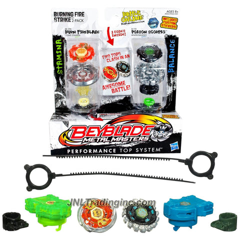 "Hasbro Year 2011 Beyblade Metal Fusion High Performance Battle Tops ""Burning Fire Strike"" 2 Pack Set - Stamina 135MS BB59A BURN FIREBLAZE with Face Bolt, Fireblaze Energy Ring, Burn Fusion Wheel, Mid Profile 135 Spin Track, MS Performance Tip and Balance M145Q B110 POISON SCORPIO with Face Bolt, Scorpio Energy Ring, Poison Fusion Wheel, Move M145 Spin Track, Q Performance Tip Plus 2 Ripcord Launchers and 2 Online Codes"