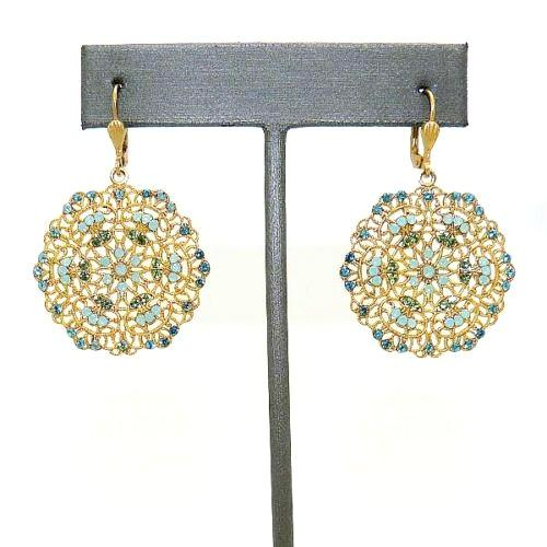 La Vie Parisienne Gold Filigree Lace Earrings Popesco Pacific Opal Teal 9702G - ILoveThatGift