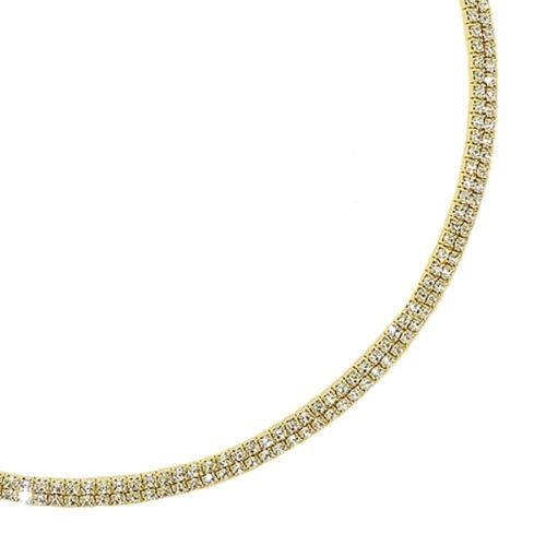 2 Row Choker Collar Necklace Silver Gold made from Swarovski Crystal Encrusted - ILoveThatGift
