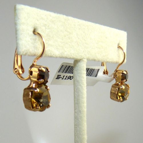 Mariana Handmade Swarovski Crystal Earrings 1190 1013 Rose Gold Mocca Topaz - ILoveThatGift