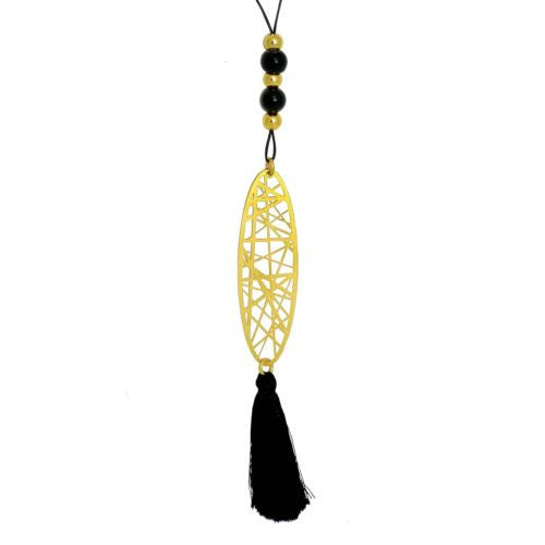 RAS Gold Plated Laser Cut Crossroad Pendant Tassle Necklace 3556 - ILoveThatGift