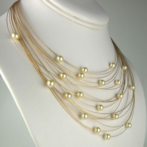 Seasonal Whispers Necklace Rose Gold White Pearls 8256 - ILoveThatGift
