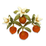 Orange Flower Drop Brooch Pin by Michael Michaud Nature Silver Seasons 5981