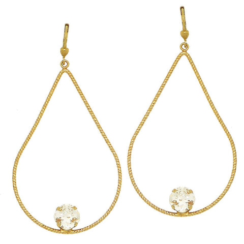 La Vie Parisienne Large Teardrop Gold Hoop Earrings with Crystal 9522G Catherine Popesco - ILoveThatGift