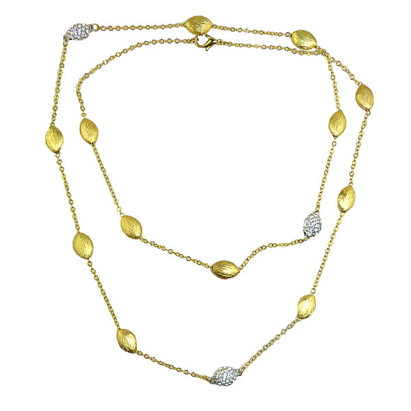 Brushed Gold Toned Bead Oval Pave Chain Necklace Marco Bicego Inspired - ILoveThatGift