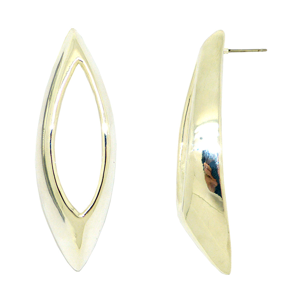 Simon Sebbag Sculptured Open Oval Sterling Silver Pierced Earrings Post E2960