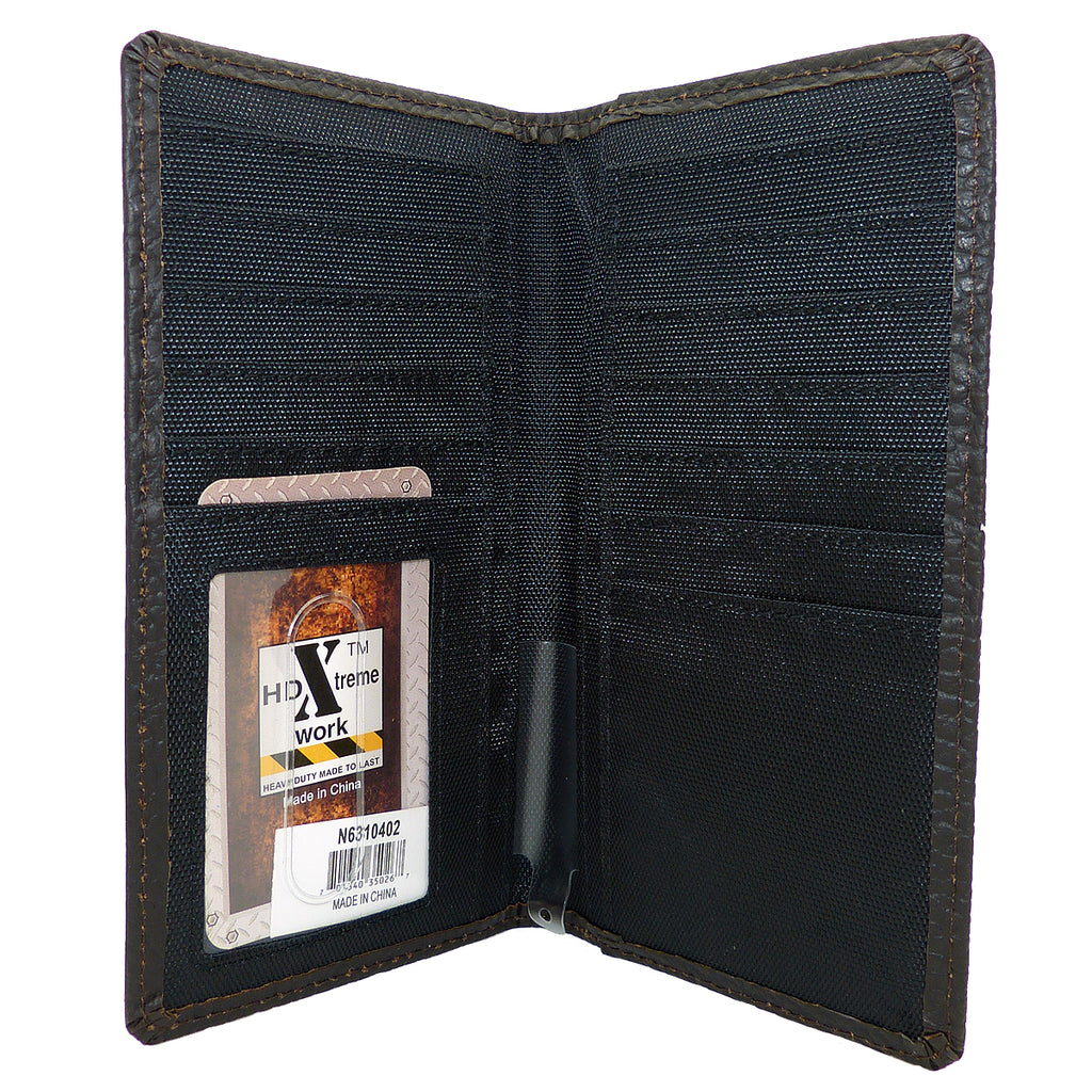 Nocona Western Mens Leather Heavy Duty Triple Stitched Work Xtreme Brown Wallet