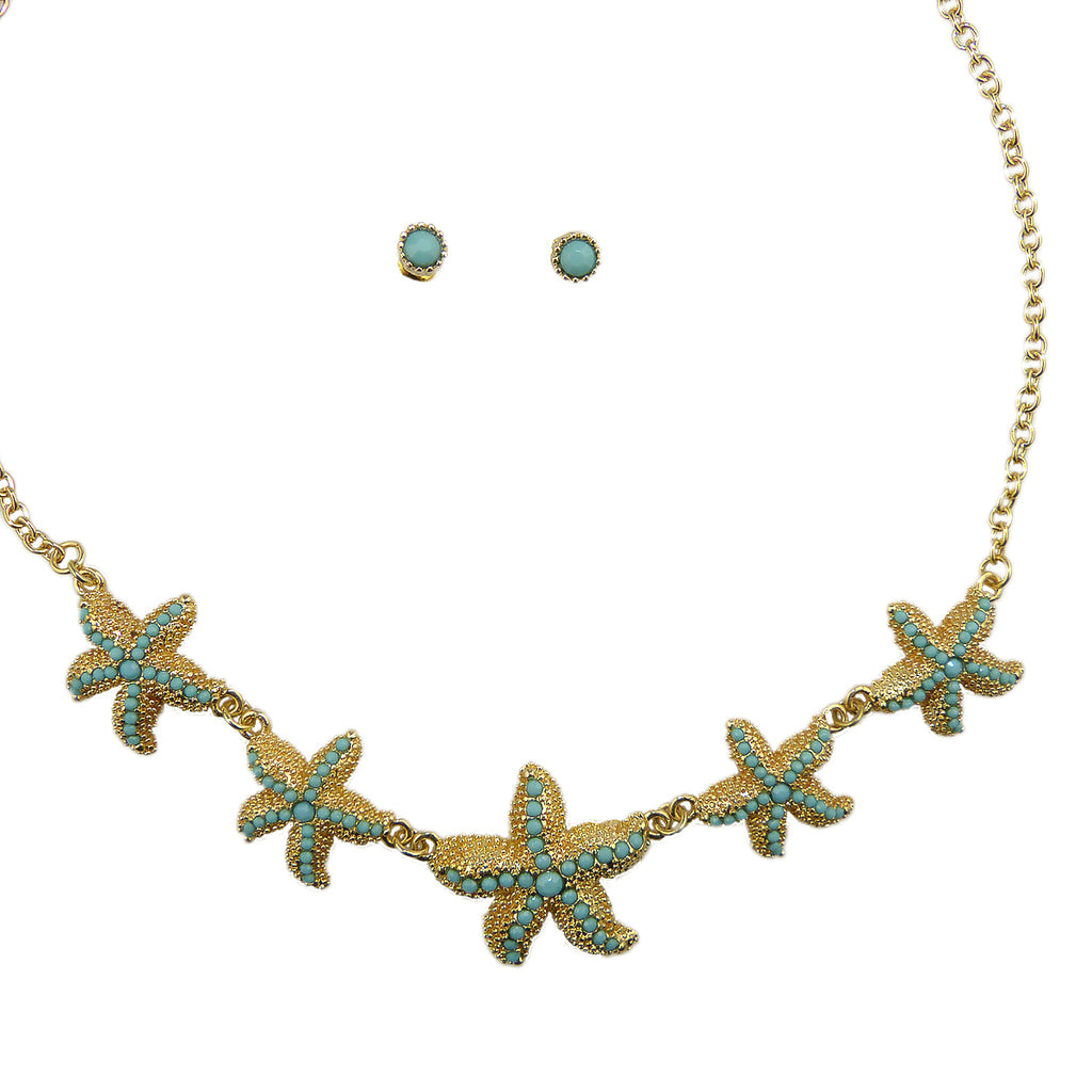 Gold Tone Star Fish Turqiouse Blue Starfish Necklace and Earring Set - ILoveThatGift