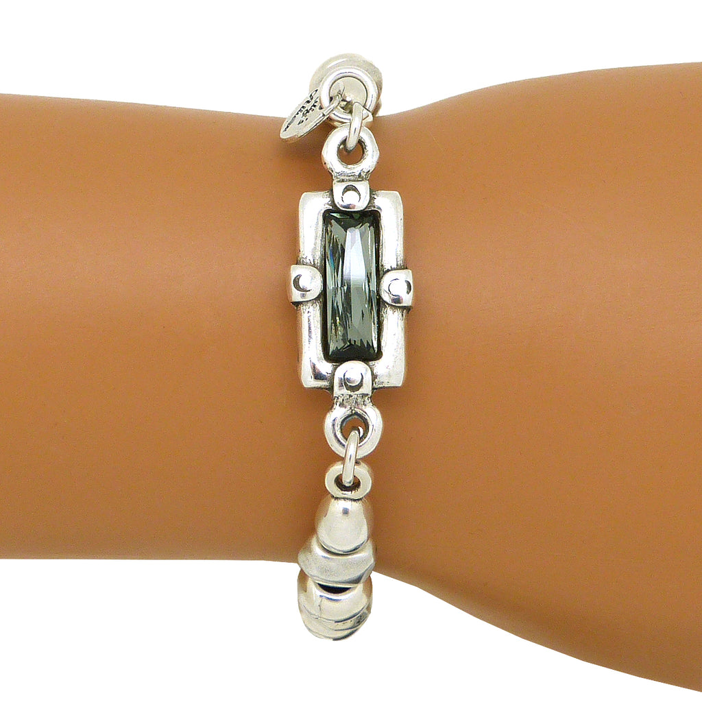 Lilly's Allure Black Swarovski Crystal Silver Bracelet Magnetic W181 Wear with Uno de 50