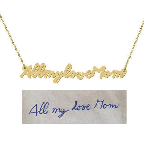 Handwriting necklace 18k Gold plated pendant select any Name, signature, or handwritten phrase made with 925 silver