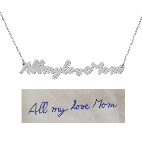 Handwriting necklace Silver pendant select any Name, signature, or handwritten phrase made with 925 silver