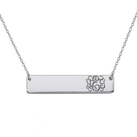 "Monogram Necklace 1"" inch Silver Bar pendant Choose any initials made with 925 Sterling silver"