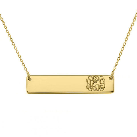 "Gold monogram bar necklace 18k gold plated pendant select any initial made with 925 silver and gold plated 1"" inch"