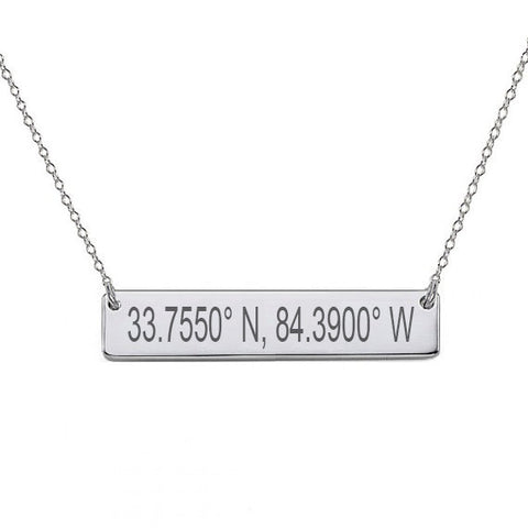 "GPS Coordinates Sterling silver Bar Necklace 1"" inch Silver Bar Necklace Latitude Longitude necklace Coordinates made with 925 silver"