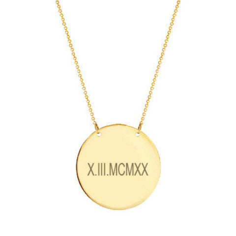 "14k Gold Roman numeral Disc necklace 1/2"" inch 14k solid gold pendant Personalize Disc with Anniversary or birthday dates"