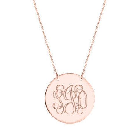 "14k Rose Gold monogram disc necklace 14k solid rose gold pendant Personalize disc select any initial 1/2"" inch"