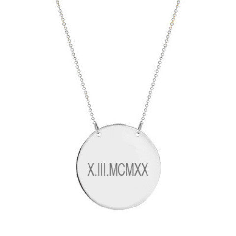 "14k White Gold Roman numeral disc necklace 1/2"" inch 14k solid white gold pendant Personalize disc with Anniversary or birthday dates"