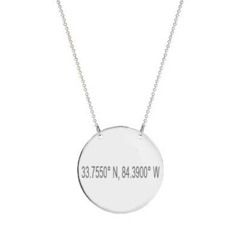 "14k White Gold Coordinate disc necklace 1/2"" inch 14k solid white gold pendant Personalize Disc with Latitude or GPS coordinates"